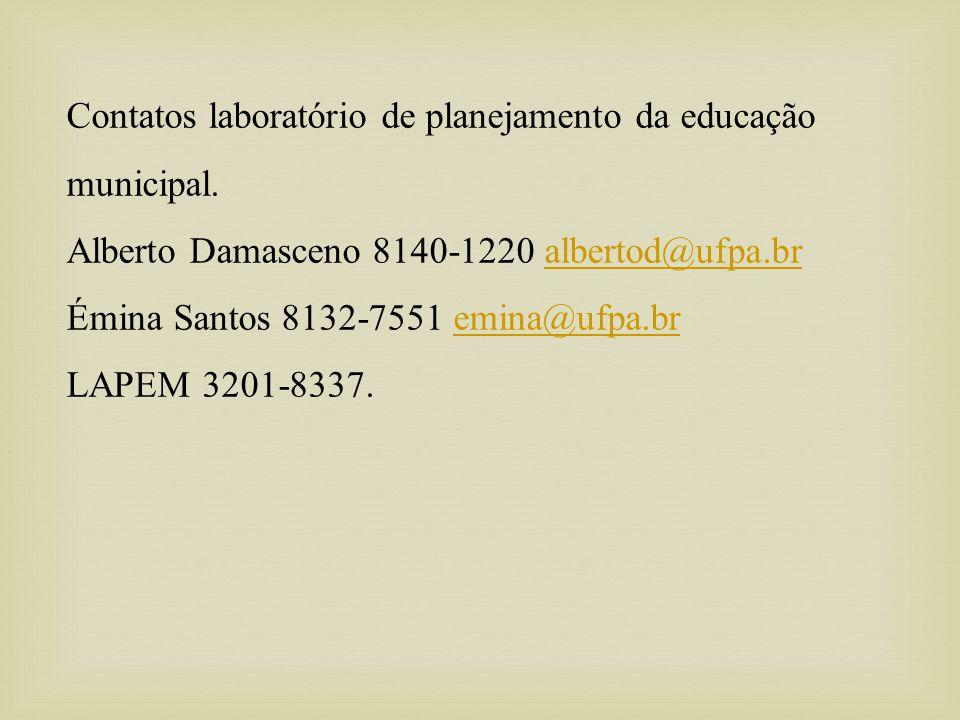 Contatos laboratório de planejamento da educação municipal.
