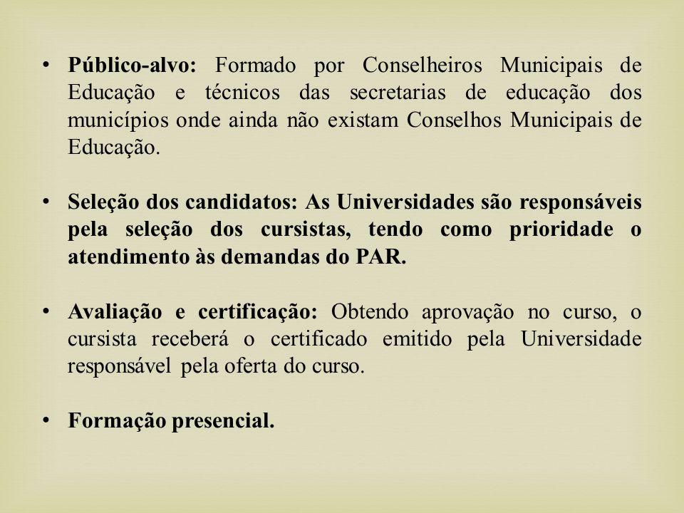 Público-alvo: Formado por Conselheiros Municipais de Educação e técnicos das secretarias de educação dos municípios onde ainda não existam Conselhos Municipais de Educação.