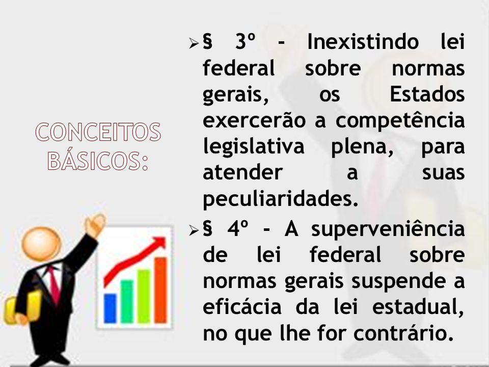 § 3º - Inexistindo lei federal sobre normas gerais, os Estados exercerão a competência legislativa plena, para atender a suas peculiaridades.