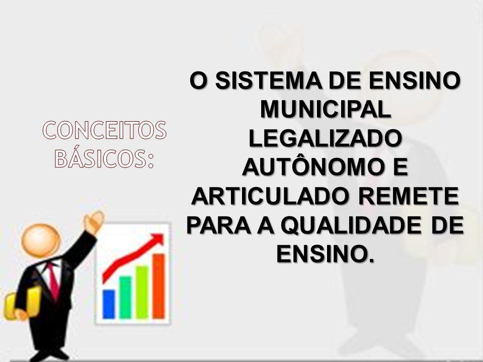 O SISTEMA DE ENSINO MUNICIPAL LEGALIZADO AUTÔNOMO E ARTICULADO REMETE PARA A QUALIDADE DE ENSINO.