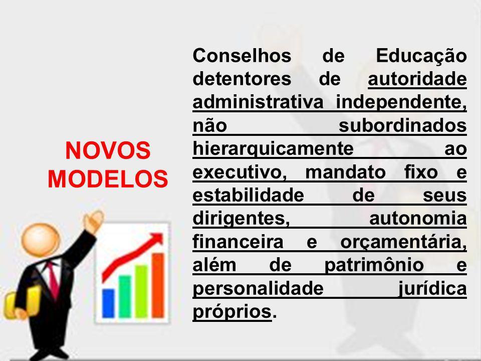 Conselhos de Educação detentores de autoridade administrativa independente, não subordinados hierarquicamente ao executivo, mandato fixo e estabilidade de seus dirigentes, autonomia financeira e orçamentária, além de patrimônio e personalidade jurídica próprios.