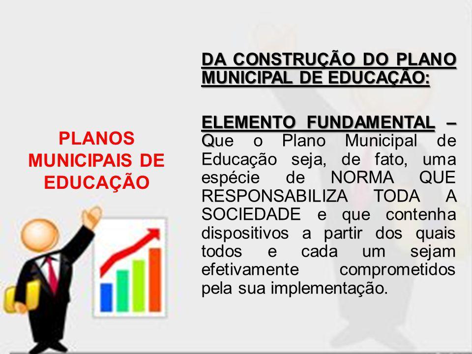 PLANOS MUNICIPAIS DE EDUCAÇÃO