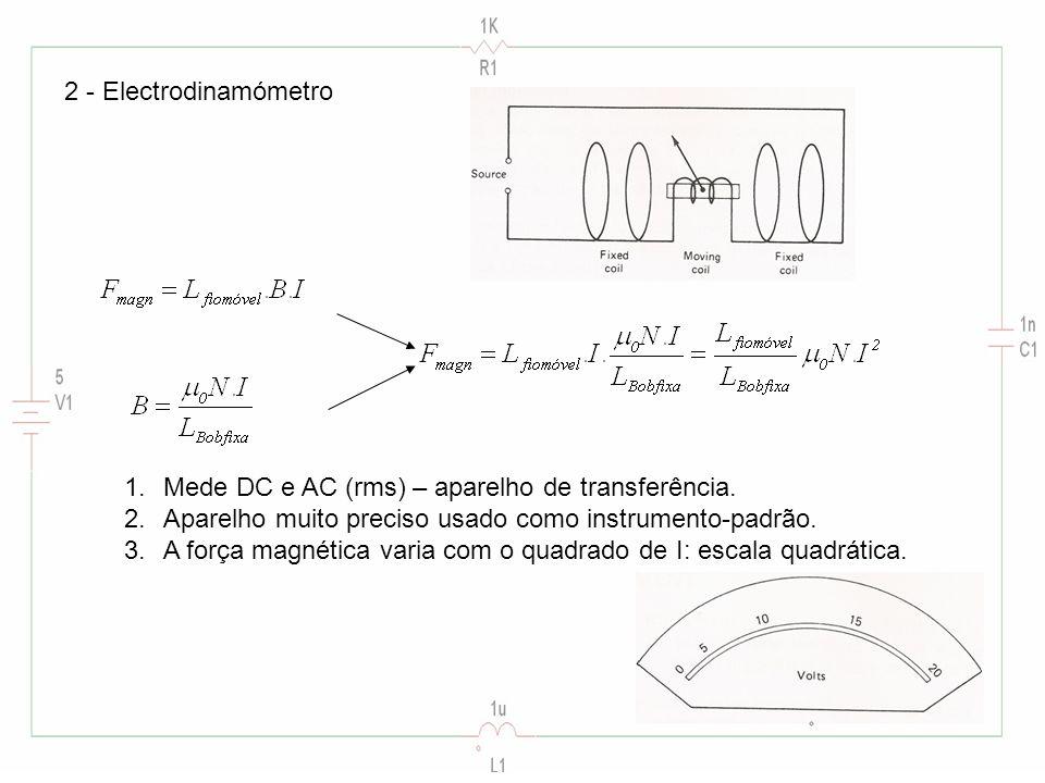 2 - Electrodinamómetro Mede DC e AC (rms) – aparelho de transferência. Aparelho muito preciso usado como instrumento-padrão.