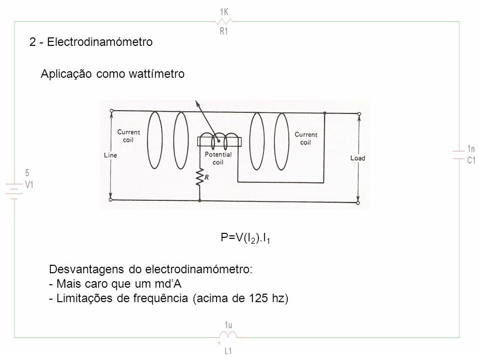 2 - Electrodinamómetro Aplicação como wattímetro. P=V(I2).I1. Desvantagens do electrodinamómetro: