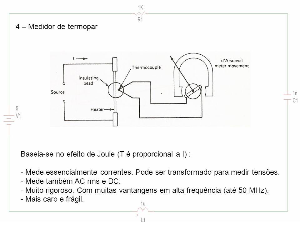4 – Medidor de termopar Baseia-se no efeito de Joule (T é proporcional a I) :