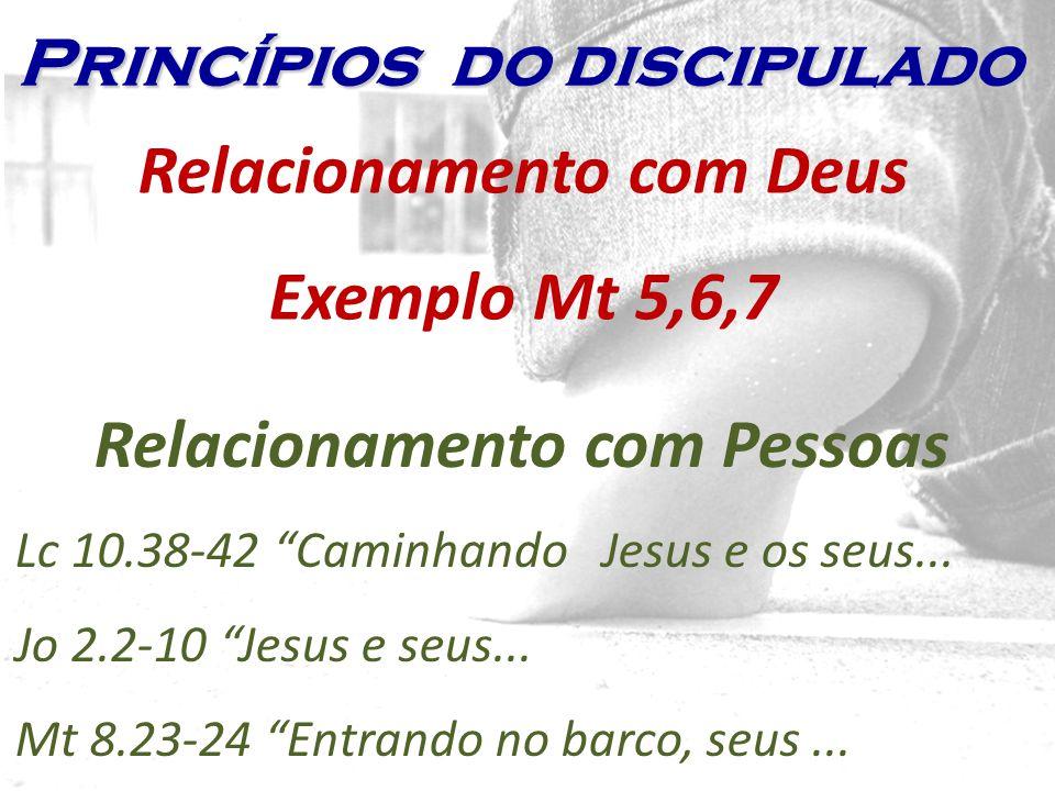 Relacionamento com Deus Exemplo Mt 5,6,7 Relacionamento com Pessoas
