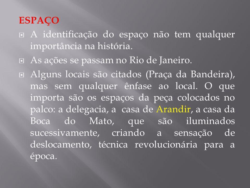 ESPAÇO A identificação do espaço não tem qualquer importância na história. As ações se passam no Rio de Janeiro.