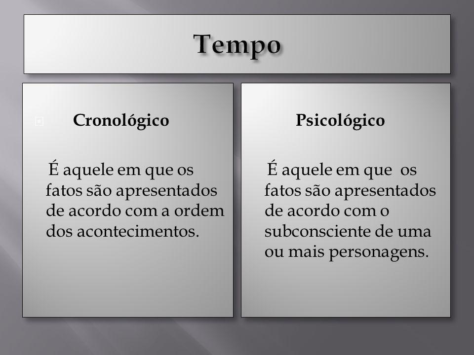 Tempo Cronológico. É aquele em que os fatos são apresentados de acordo com a ordem dos acontecimentos.