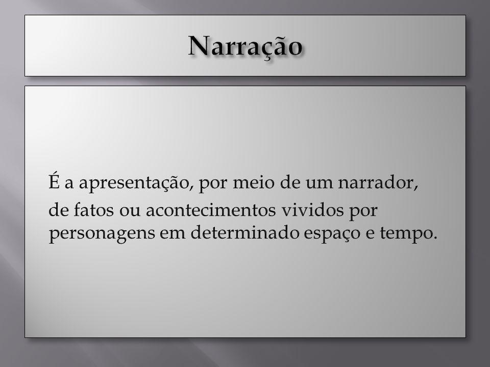 Narração É a apresentação, por meio de um narrador, de fatos ou acontecimentos vividos por personagens em determinado espaço e tempo.
