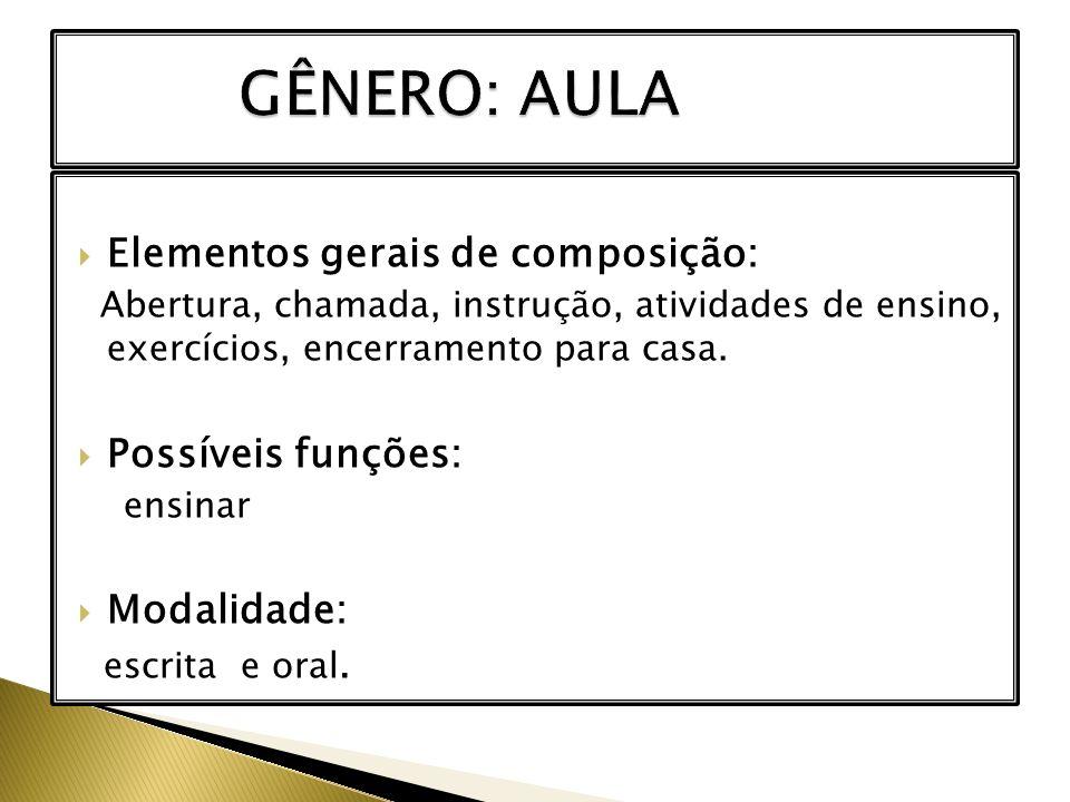 GÊNERO: AULA Elementos gerais de composição: Possíveis funções: