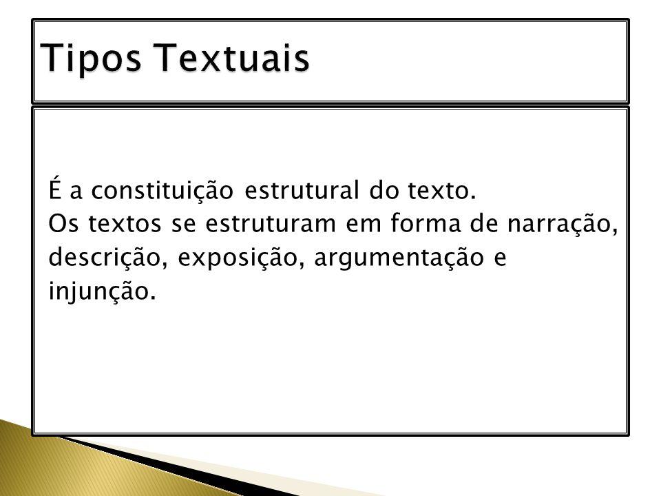 Tipos Textuais É a constituição estrutural do texto.