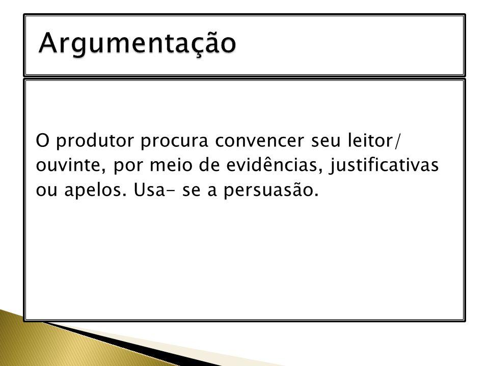 Argumentação O produtor procura convencer seu leitor/ ouvinte, por meio de evidências, justificativas ou apelos.