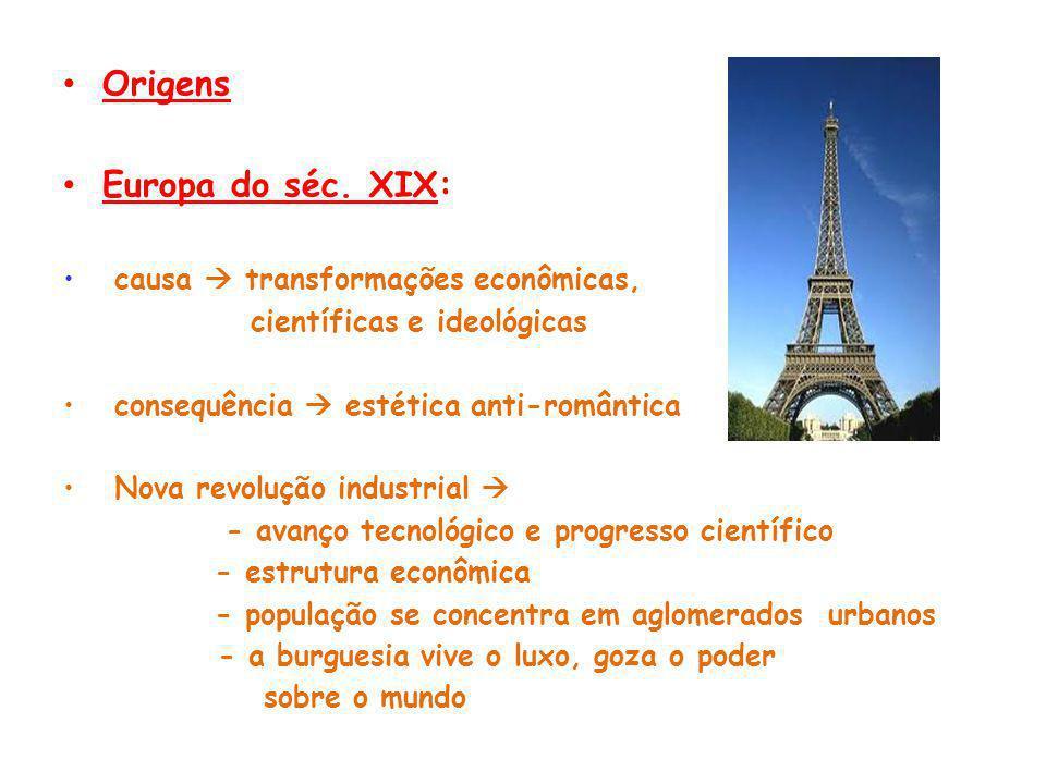Origens Europa do séc. XIX: causa  transformações econômicas,