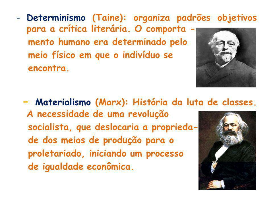 Determinismo (Taine): organiza padrões objetivos para a crítica literária. O comporta -