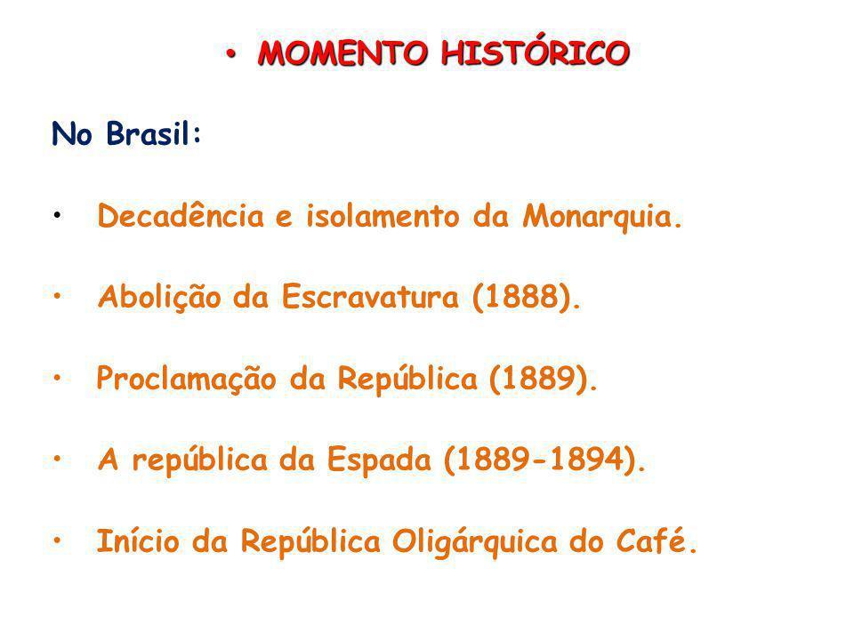 MOMENTO HISTÓRICO No Brasil: Decadência e isolamento da Monarquia. Abolição da Escravatura (1888).