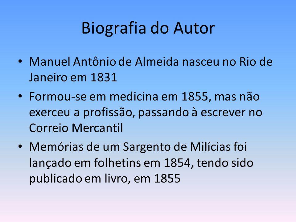 Biografia do Autor Manuel Antônio de Almeida nasceu no Rio de Janeiro em 1831.