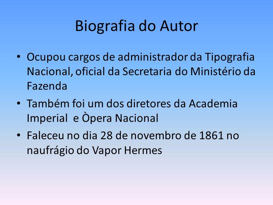 Biografia do Autor Ocupou cargos de administrador da Tipografia Nacional, oficial da Secretaria do Ministério da Fazenda.