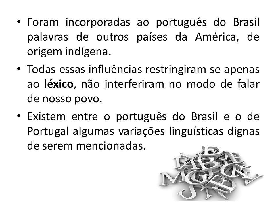 Foram incorporadas ao português do Brasil palavras de outros países da América, de origem indígena.