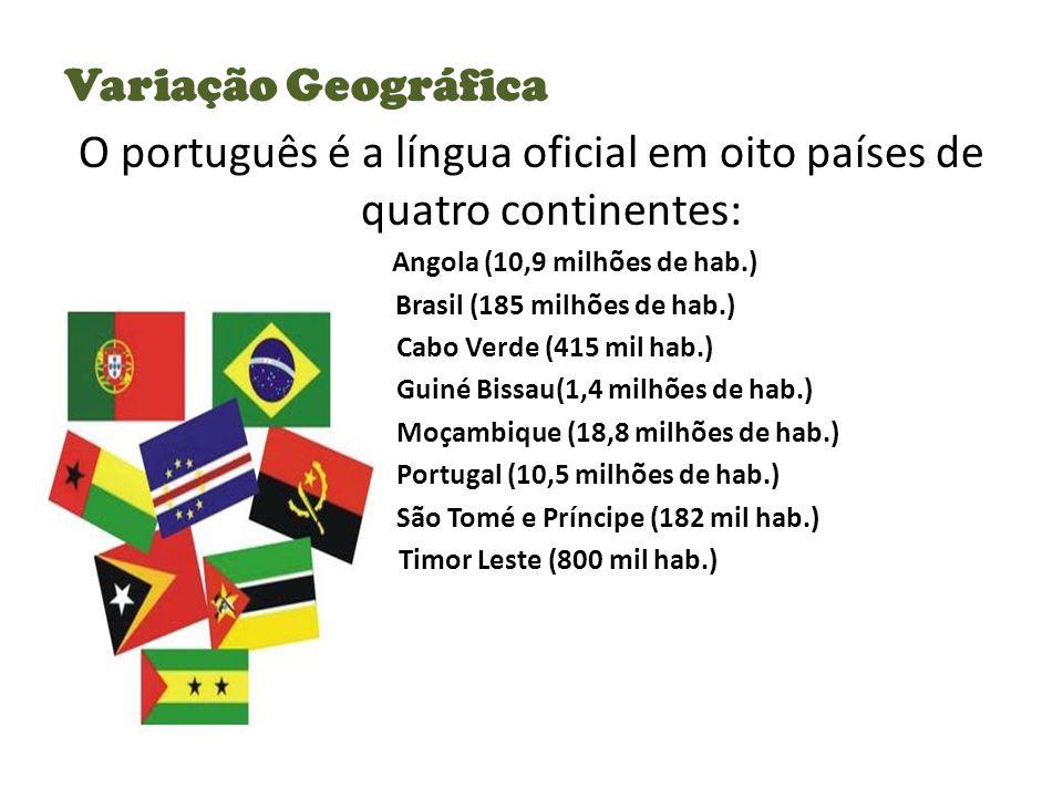 O português é a língua oficial em oito países de quatro continentes: