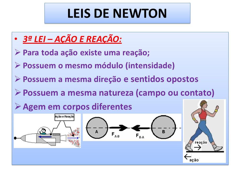 LEIS DE NEWTON 3ª LEI – AÇÃO E REAÇÃO: