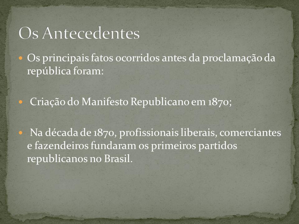 Os Antecedentes Os principais fatos ocorridos antes da proclamação da república foram: Criação do Manifesto Republicano em 1870;