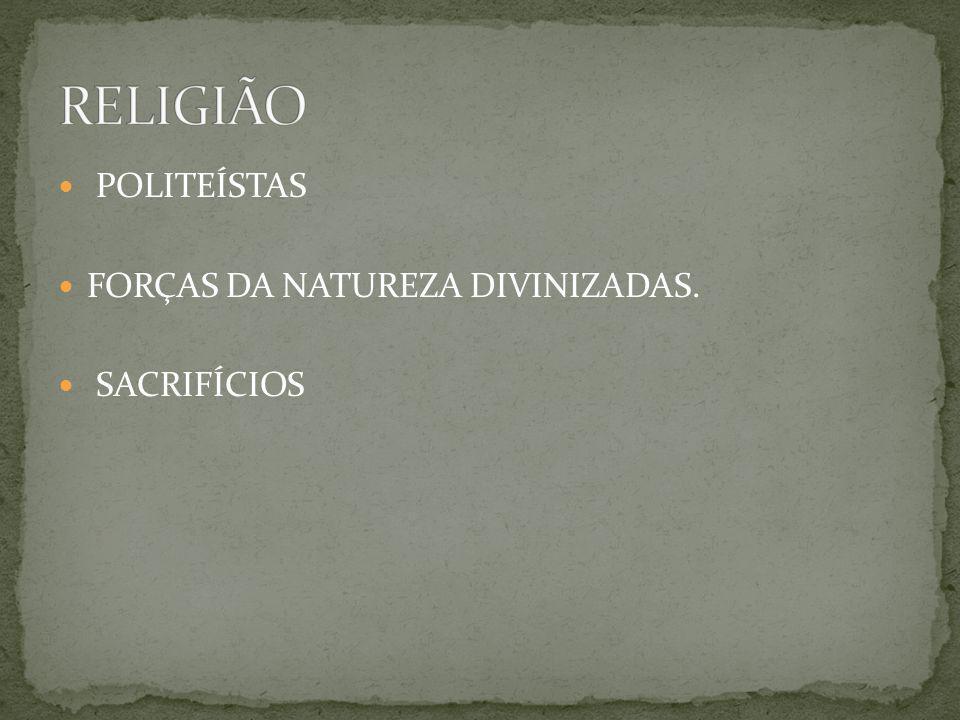 RELIGIÃO POLITEÍSTAS FORÇAS DA NATUREZA DIVINIZADAS. SACRIFÍCIOS