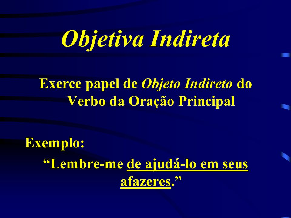 Objetiva Indireta Exerce papel de Objeto Indireto do Verbo da Oração Principal.