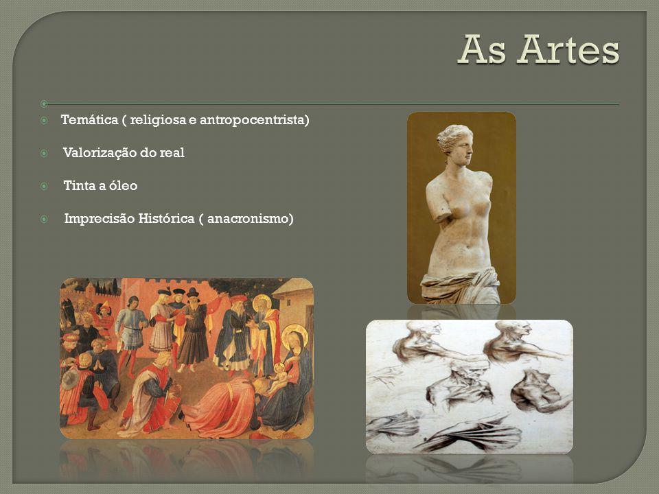 As Artes Temática ( religiosa e antropocentrista) Valorização do real