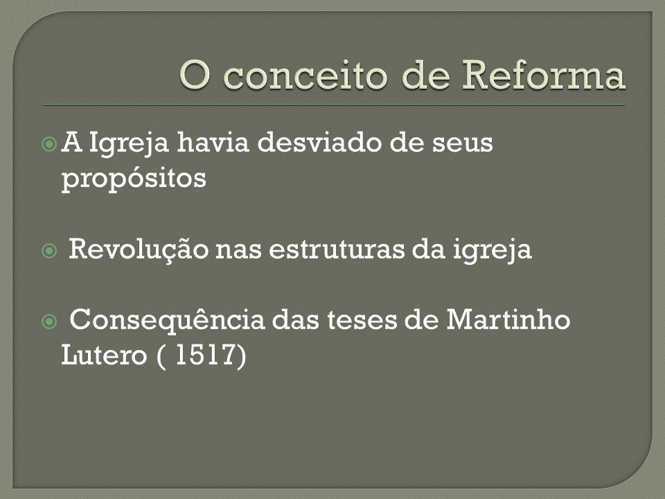 O conceito de Reforma A Igreja havia desviado de seus propósitos