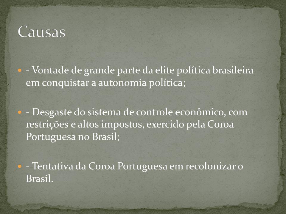 Causas - Vontade de grande parte da elite política brasileira em conquistar a autonomia política;