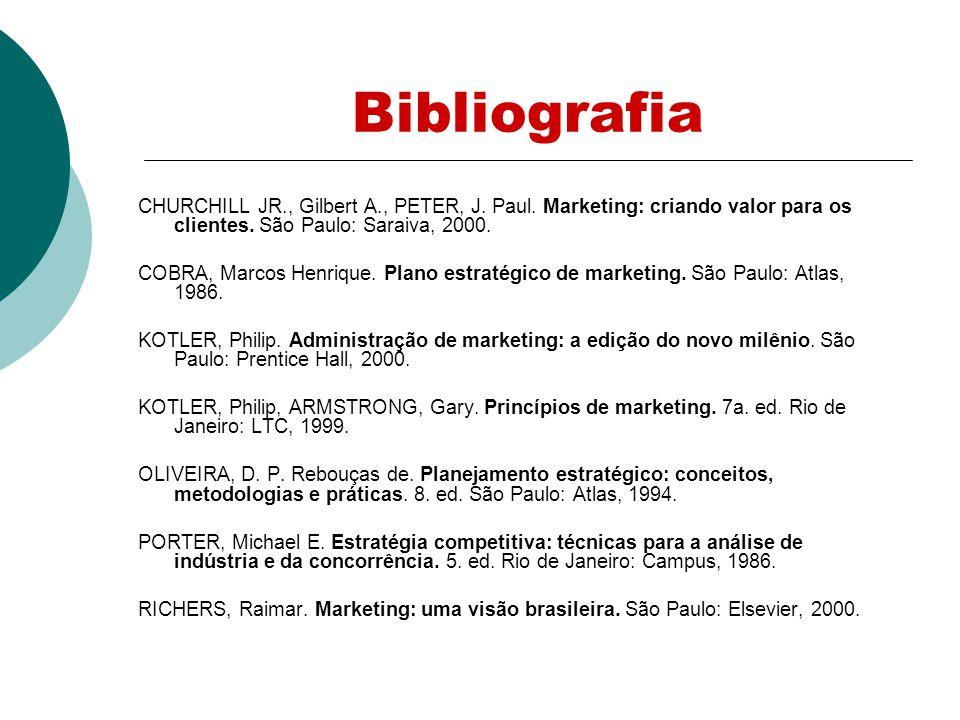 Bibliografia CHURCHILL JR., Gilbert A., PETER, J. Paul. Marketing: criando valor para os clientes. São Paulo: Saraiva, 2000.