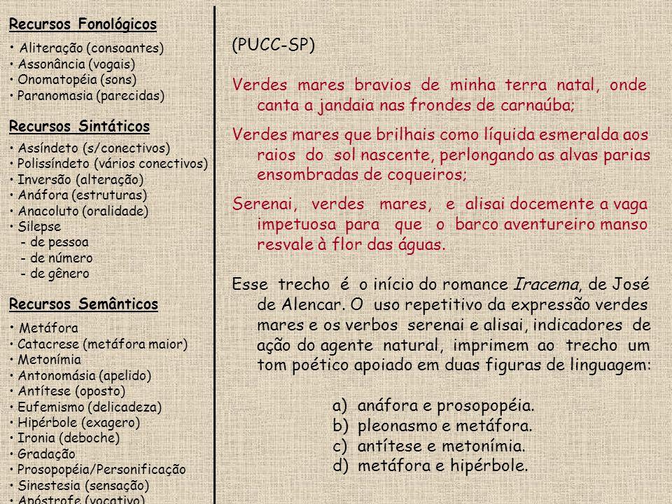 Recursos Fonológicos Aliteração (consoantes) Assonância (vogais) Onomatopéia (sons) Paranomasia (parecidas)