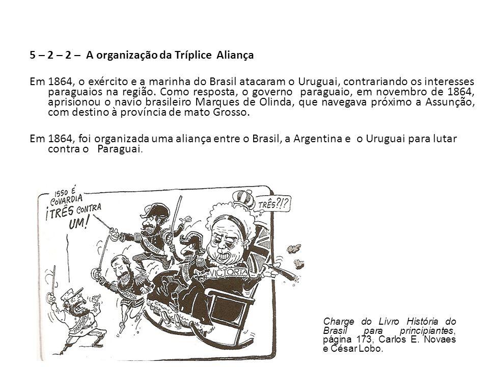 5 – 2 – 2 – A organização da Tríplice Aliança Em 1864, o exército e a marinha do Brasil atacaram o Uruguai, contrariando os interesses paraguaios na região. Como resposta, o governo paraguaio, em novembro de 1864, aprisionou o navio brasileiro Marques de Olinda, que navegava próximo a Assunção, com destino à província de mato Grosso. Em 1864, foi organizada uma aliança entre o Brasil, a Argentina e o Uruguai para lutar contra o Paraguai.