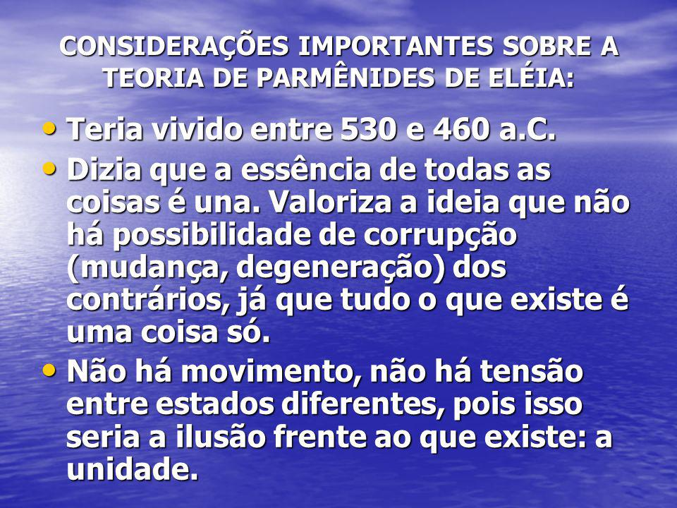 CONSIDERAÇÕES IMPORTANTES SOBRE A TEORIA DE PARMÊNIDES DE ELÉIA: