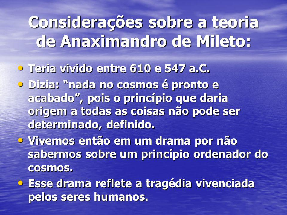 Considerações sobre a teoria de Anaximandro de Mileto: