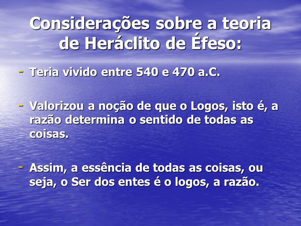 Considerações sobre a teoria de Heráclito de Éfeso: