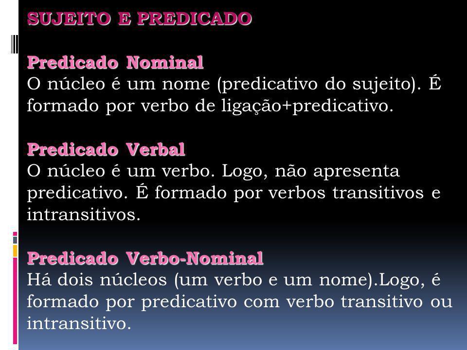 SUJEITO E PREDICADO Predicado Nominal. O núcleo é um nome (predicativo do sujeito). É formado por verbo de ligação+predicativo.