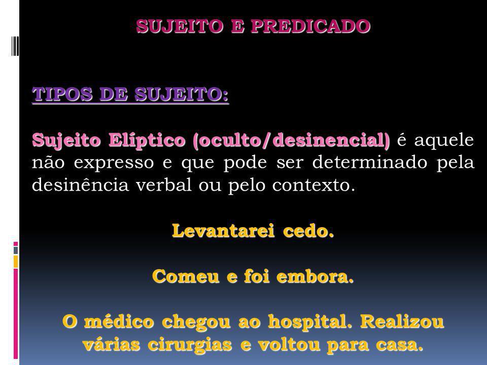 SUJEITO E PREDICADO TIPOS DE SUJEITO: