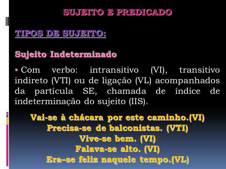 SUJEITO E PREDICADO TIPOS DE SUJEITO: Sujeito Indeterminado.