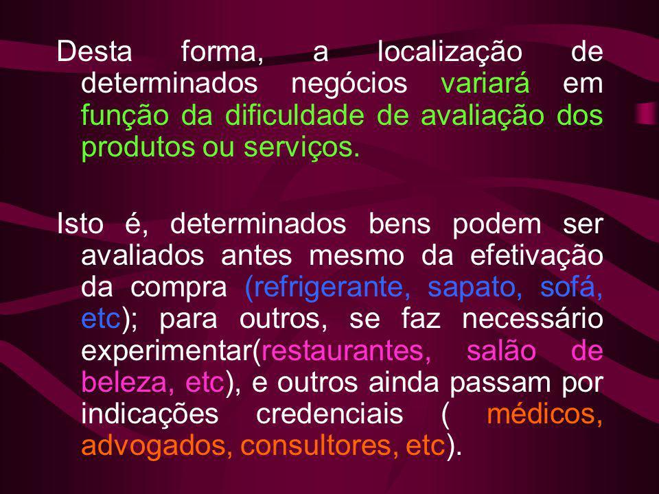Desta forma, a localização de determinados negócios variará em função da dificuldade de avaliação dos produtos ou serviços.