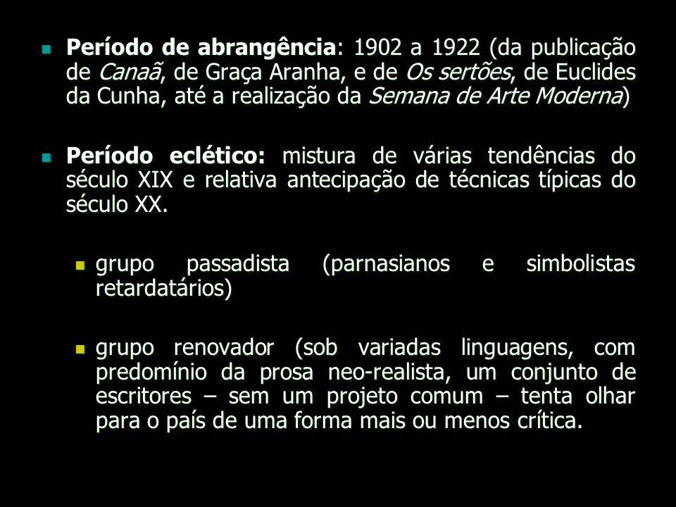 Período de abrangência: 1902 a 1922 (da publicação de Canaã, de Graça Aranha, e de Os sertões, de Euclides da Cunha, até a realização da Semana de Arte Moderna)