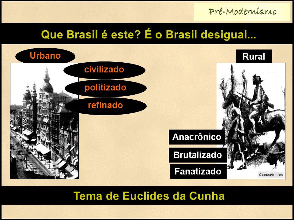 Que Brasil é este É o Brasil desigual... Tema de Euclides da Cunha