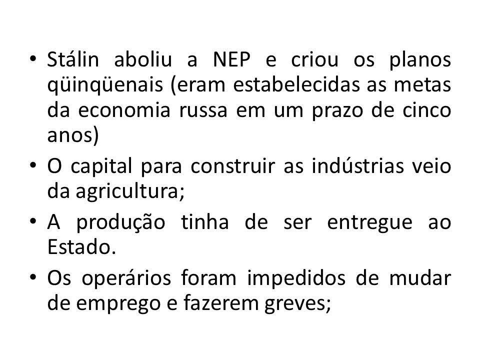 Stálin aboliu a NEP e criou os planos qüinqüenais (eram estabelecidas as metas da economia russa em um prazo de cinco anos)