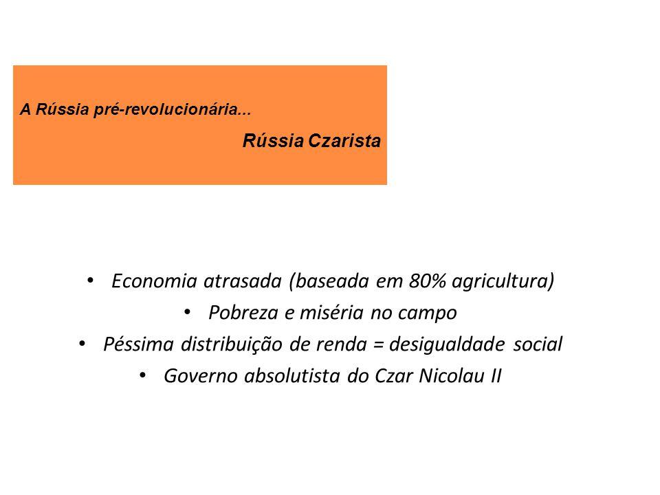 Economia atrasada (baseada em 80% agricultura)