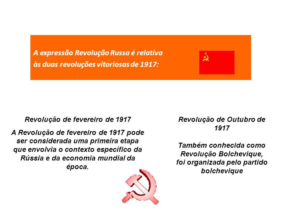 A expressão Revolução Russa é relativa às duas revoluções vitoriosas de 1917: