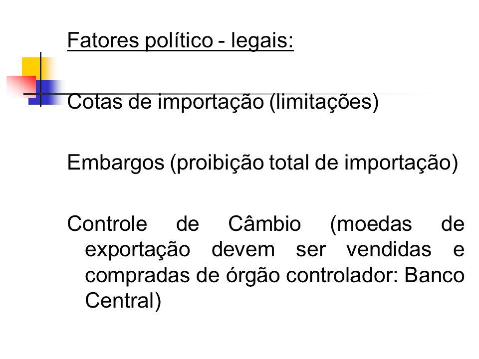 Fatores político - legais: