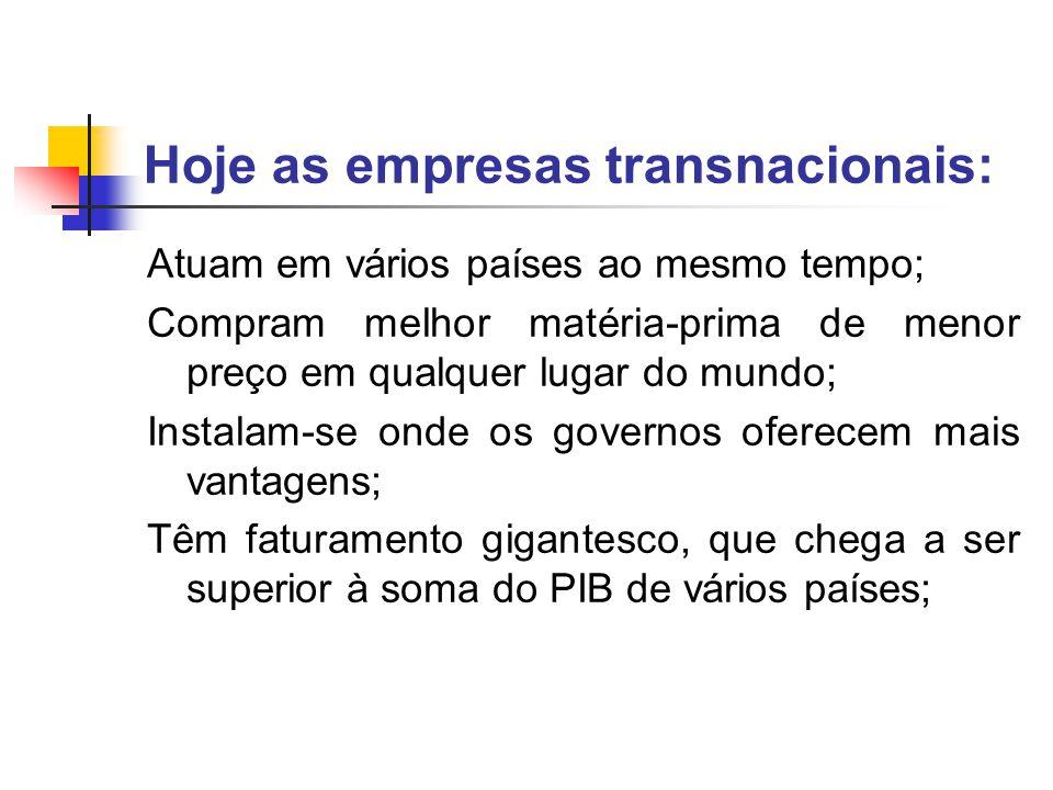Hoje as empresas transnacionais:
