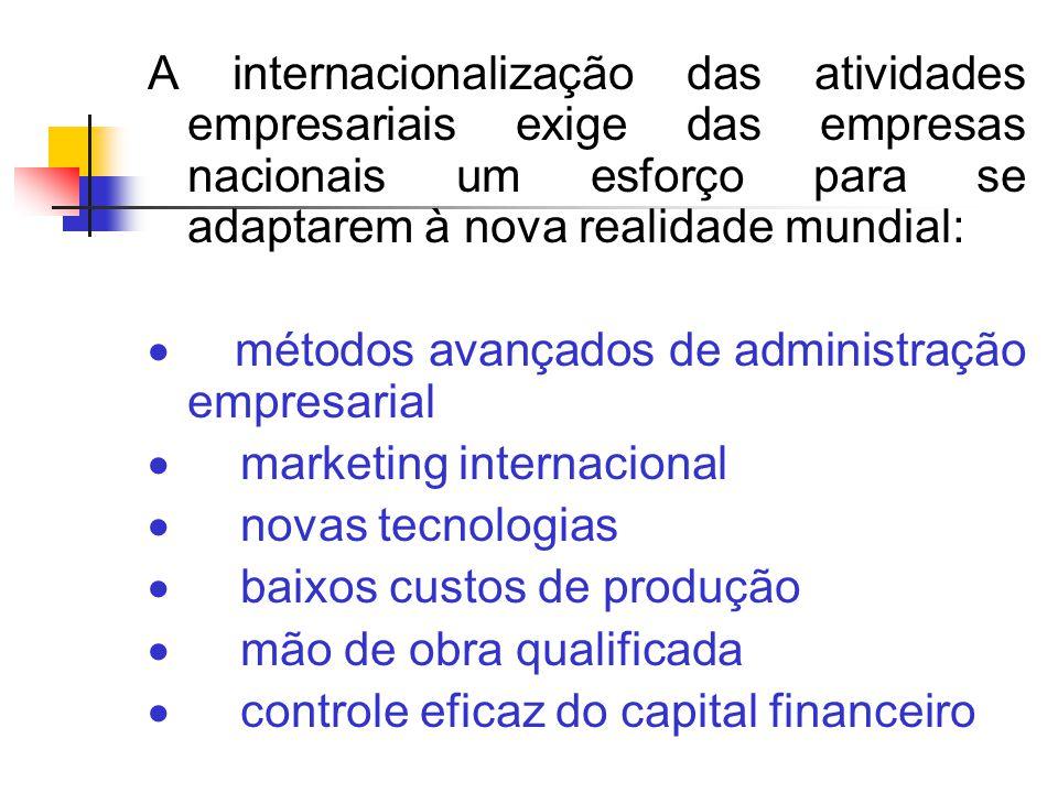 A internacionalização das atividades empresariais exige das empresas nacionais um esforço para se adaptarem à nova realidade mundial:
