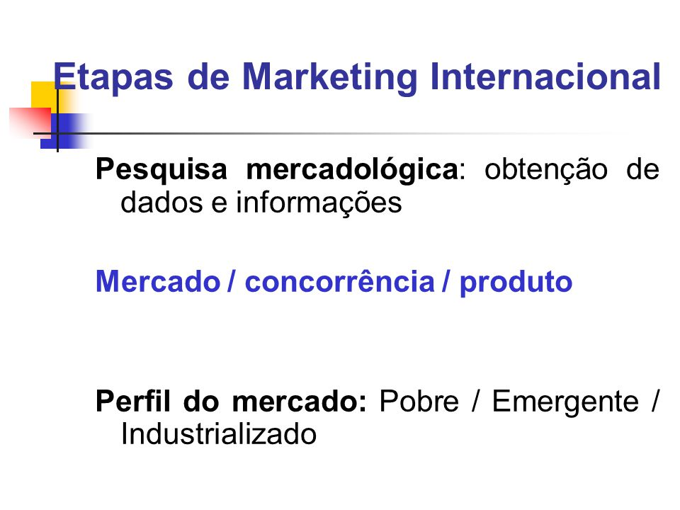 Etapas de Marketing Internacional