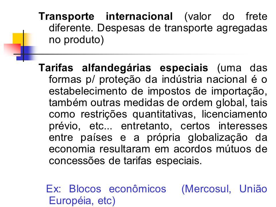 Transporte internacional (valor do frete diferente